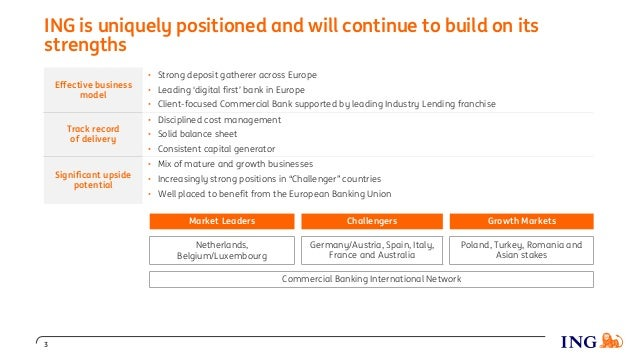 ING is uniquely positioned and will continue to build on its strengths Effective business model • Strong deposit gatherer ...