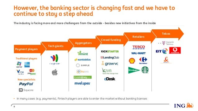 Telcos However, the banking sector is changing fast and we have to continue to stay a step ahead Retailers Crowd funding A...