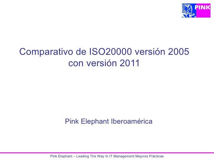 Comparativo de ISO20000 versión 2005          con versión 2011              Pink Elephant Iberoamérica      Pink Elephant ...