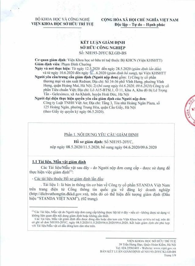 Bản kết luận giám định Công ty Cp Standa Việt Nam sâm phạm nhãn hiệu STANDA-RS số 34895