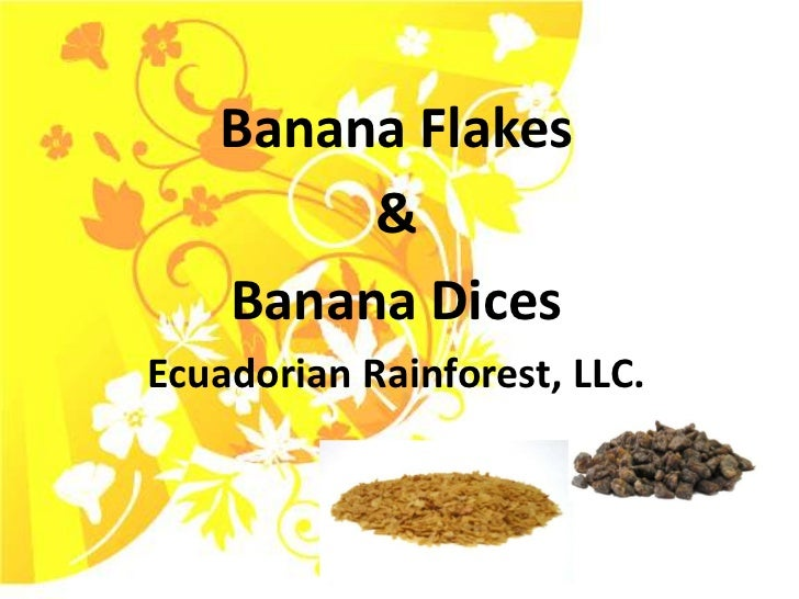 Banana Flakes<br />&<br />Banana Dices<br />Ecuadorian Rainforest, LLC.<br />
