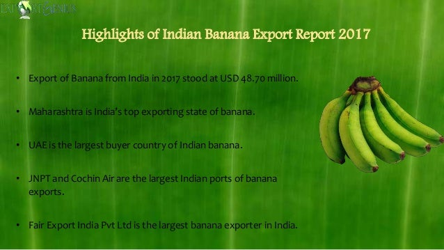Exports of Banana from India in 2017