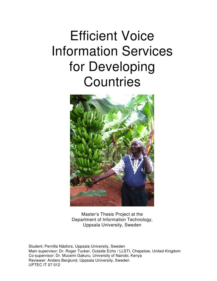 Efficient Voice             Information Services                for Developing                   Countries                ...