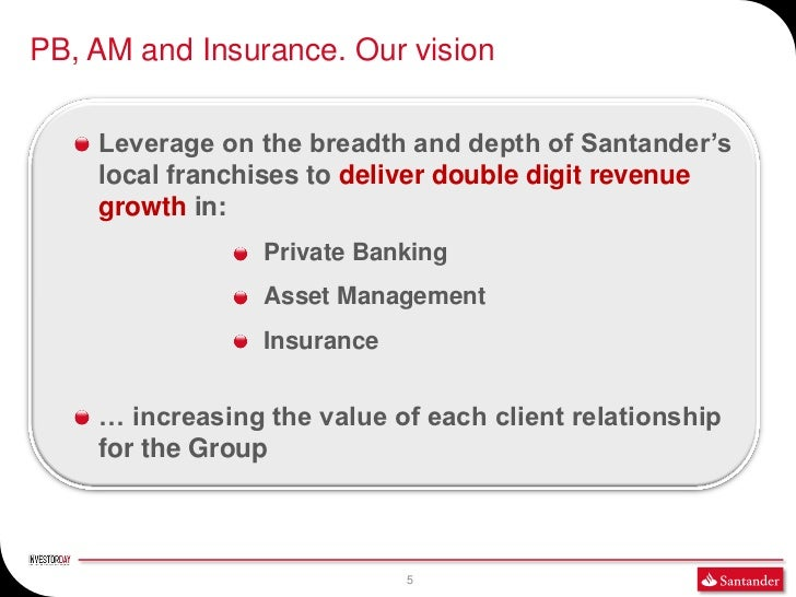 PB, AM and Insurance. Our vision    Leverage on the breadth and depth of Santander's    local franchises to deliver double...