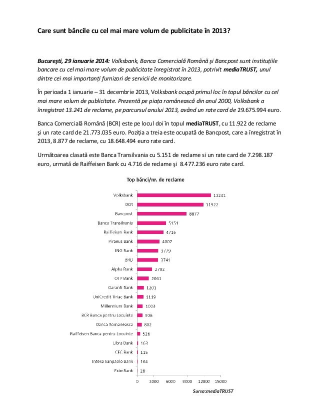 Care sunt băncile cu cel mai mare volum de publicitate în 2013?  Bucureşti, 29 ianuarie 2014: Volksbank, Banca Comercială ...