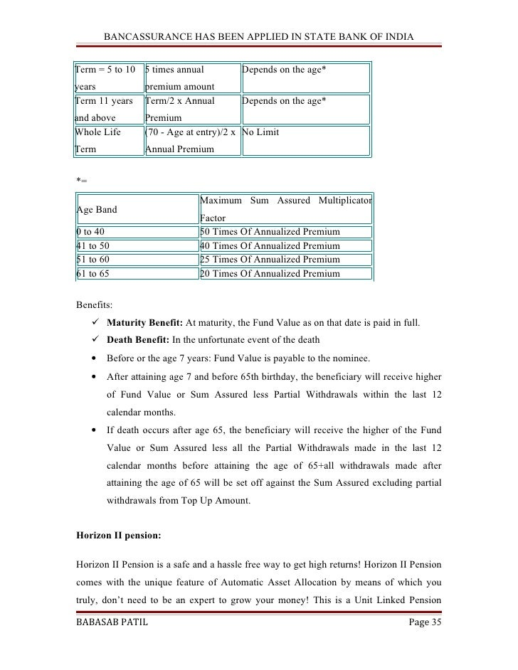 bancassurance applied sbi project Bancassurance- blackbook project 2k17 - free download as pdf file (pdf),  text file (txt) or read online for free bancassurance blackbook project 2017   used to generate leads as the number of sales leads increase the sale  q5  which company will you prefer for bancassurance 13% 30% sbi life 17%  bajaj.