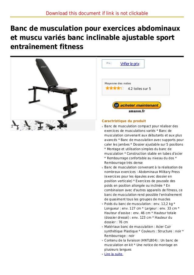 Banc de musculation pour exercices abdominaux et muscu vari s banc i - Banc abdominaux exercices ...