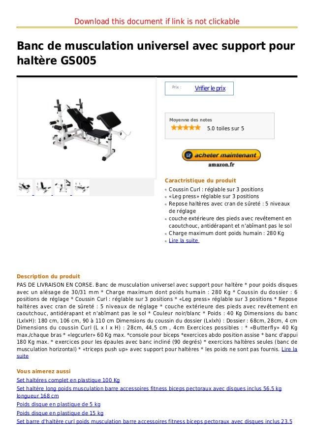 Banc De Musculation Universel Avec Support Pour Haltãre Gs005
