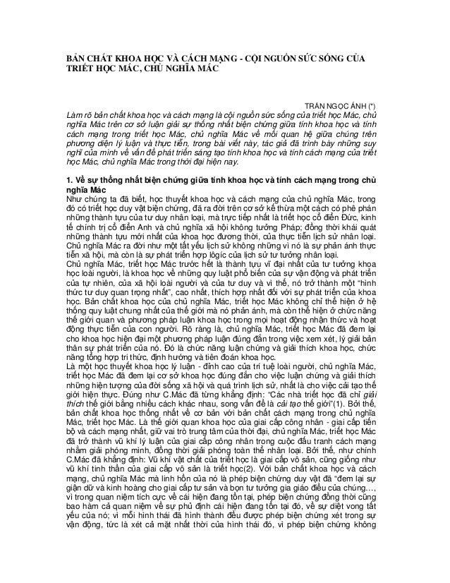 BẢN CHẤT KHOA HỌC VÀ CÁCH MẠNG - CỘI NGUỒN SỨC SỐNG CỦATRIẾT HỌC MÁC, CHỦ NGHĨA MÁC                                       ...