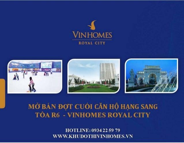 Bán chung cư Vinhomes Royal City tòa R6 với những ưu đãi tốt nhất trước 1/7/2015