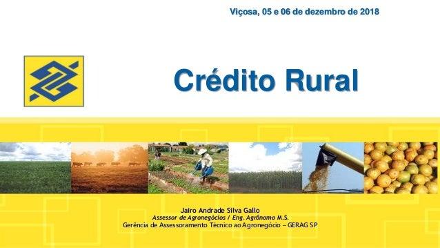 Crédito Rural Viçosa, 05 e 06 de dezembro de 2018 Jairo Andrade Silva Gallo Assessor de Agronegócios / Eng. Agrônomo M.S. ...