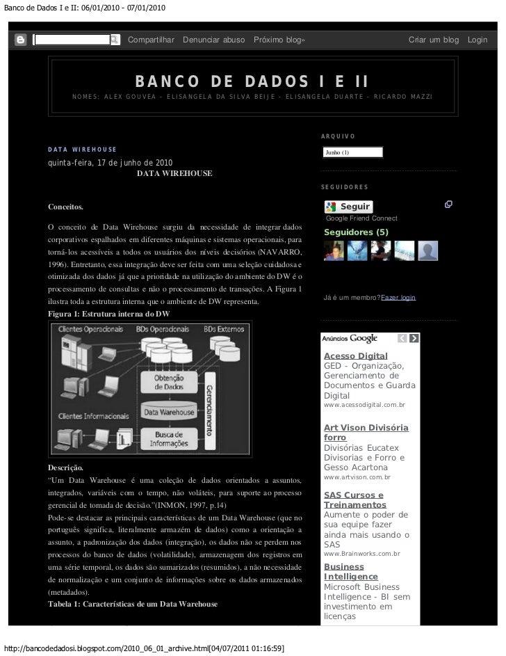 Banco de Dados I e II: 06/01/2010 - 07/01/2010                                    Compartilhar     Denunciar abuso       P...
