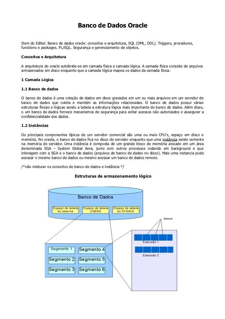 Banco de Dados OracleItem do Edital: Banco de dados oracle: conceitos e arquitetura, SQL (DML, DDL). Triggers, procedures,...