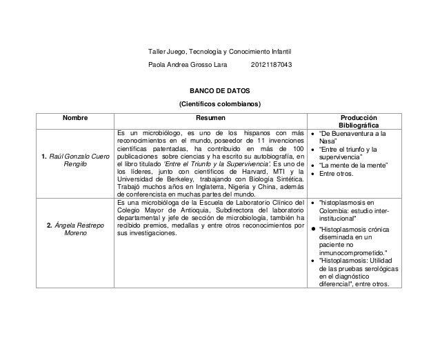 Taller Juego, Tecnología y Conocimiento Infantil Paola Andrea Grosso Lara  20121187043  BANCO DE DATOS (Científicos colomb...