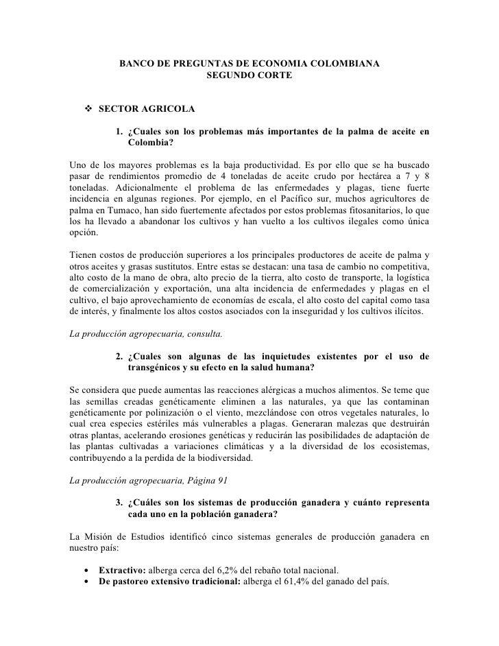 BANCO DE PREGUNTAS DE ECONOMIA COLOMBIANA                            SEGUNDO CORTE       SECTOR AGRICOLA              1. ...