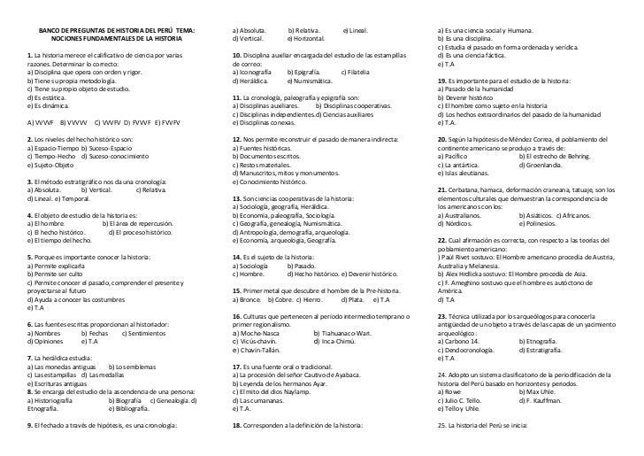 BANCO DE PREGUNTAS DE HISTORIA DEL PERÚ TEMA:              a) Absoluta.        b) Relativa.         e) Lineal.            ...