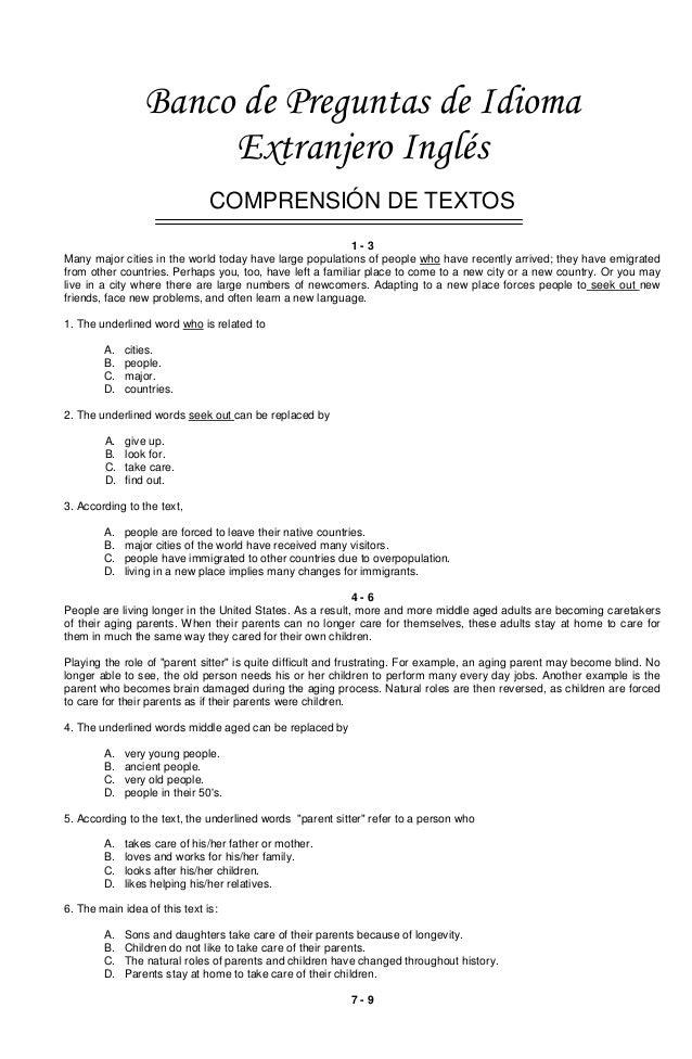 Banco de Preguntas de Idioma Extranjero Inglés COMPRENSIÓN DE TEXTOS 1-3 Many major cities in the world today have large p...