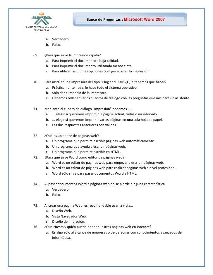 Banco de preguntas word 2007