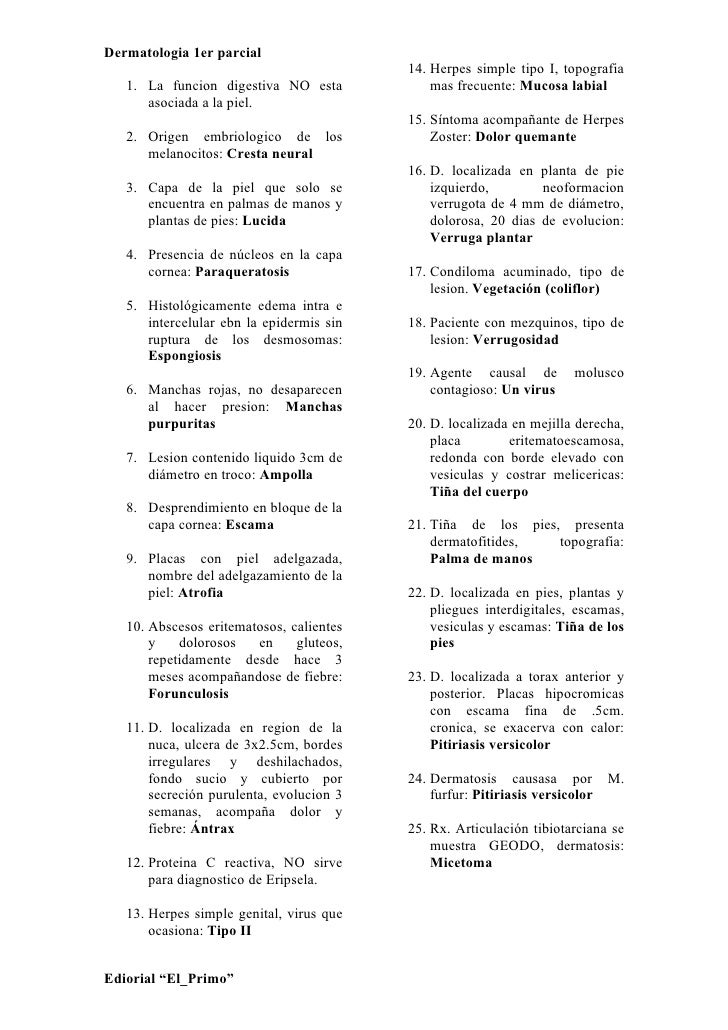 Dermatologia 1er parcial                                           14. Herpes simple tipo I, topografia    1. La funcion d...