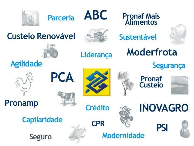 Custeio Renovável ABC Moderfrota Pronamp PCA INOVAGRO Pronaf Mais Alimentos PSICPR Seguro Agilidade Pronaf Custeio Lideran...
