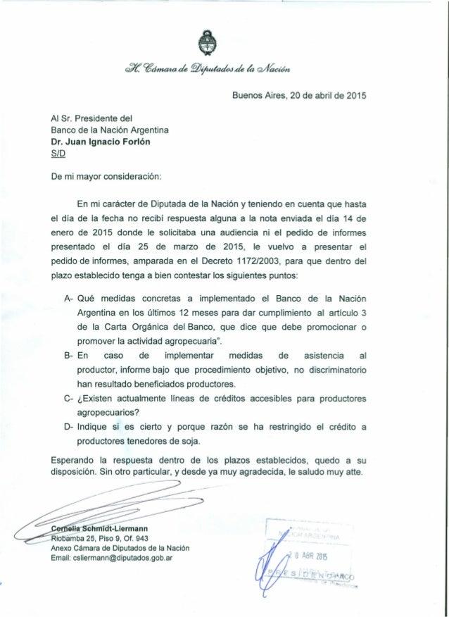 '.! ·'!'i~ trl7í. ?6~de ~ijudackde ~ Q///aaón Buenos Aires, 20 de abril de 2015 Al Sr. Presidente del Banco de la Nación A...