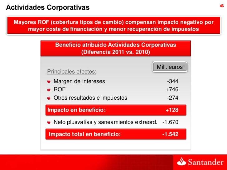 46Actividades Corporativas  Mayores ROF (cobertura tipos de cambio) compensan impacto negativo por      mayor coste de fin...