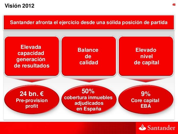 48Visión 2012  Santander afronta el ejercicio desde una sólida posición de partida     Elevada                            ...