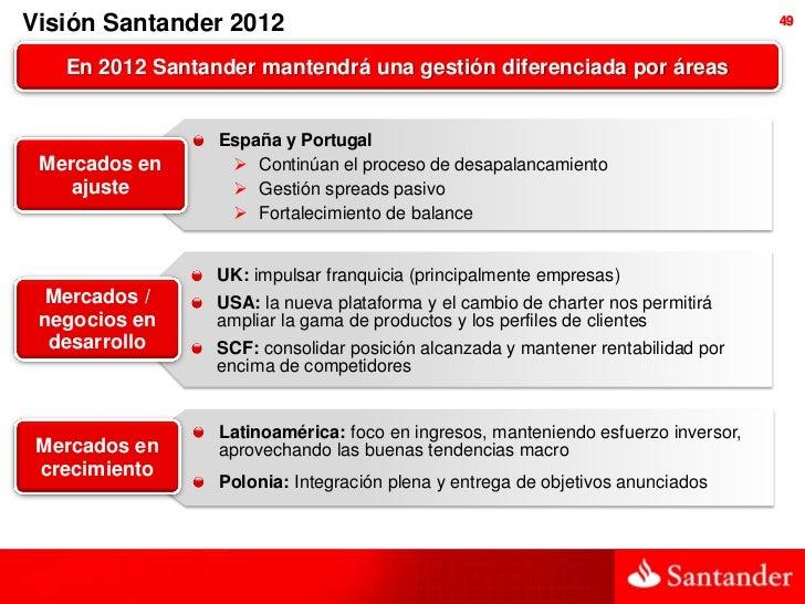Visión Santander 2012                                                              49   En 2012 Santander mantendrá una ge...