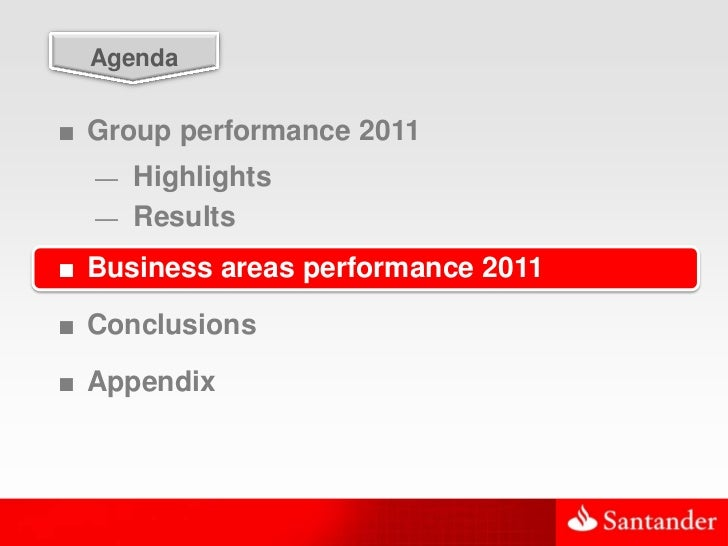 23  Agenda■ Group performance 2011  — Highlights  — Results■ Business areas performance 2011■ Conclusions■ Appendix