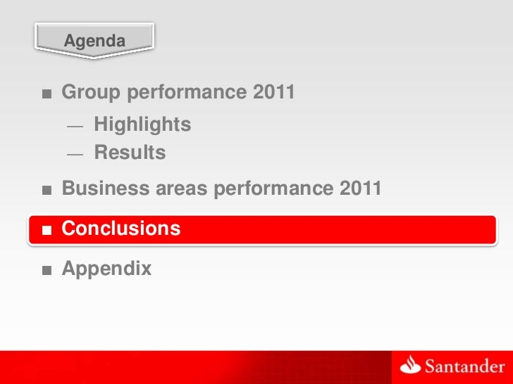 47  Agenda■ Group performance 2011  — Highlights  — Results■ Business areas performance 2011■ Conclusions■ Appendix