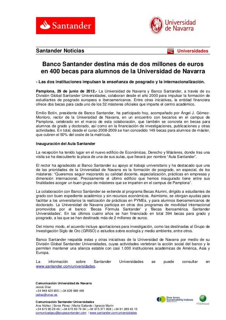 Santander Noticias                                                                      Universidades   Banco Santander de...
