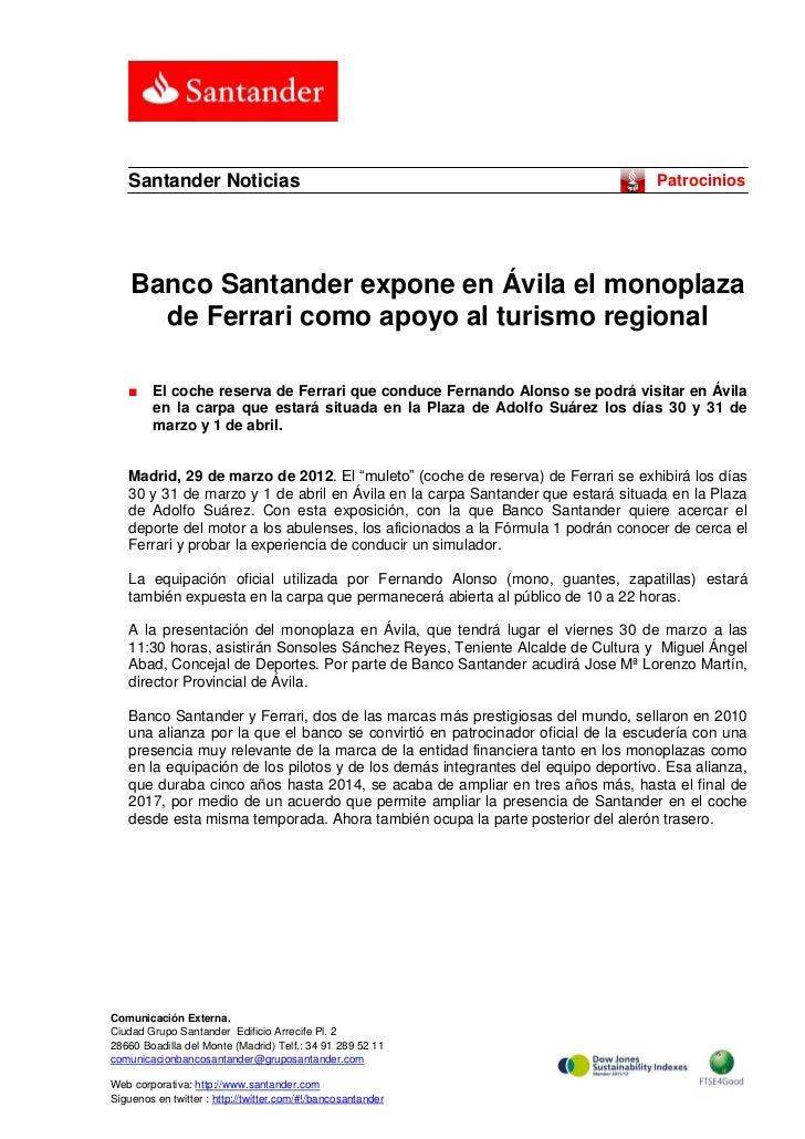 Santander Noticias                                                             Patrocinios    Banco Santander expone en Áv...