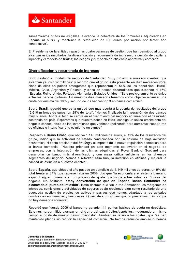 Banco Santander Nota Prensa Intervenci N De Emilio Bot N