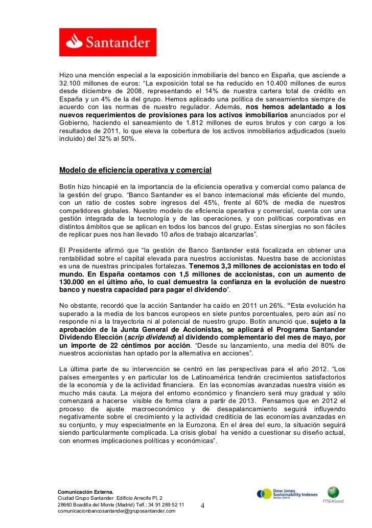 Banco santander nota prensa intervenci n de emilio bot n for Inmobiliaria del banco santander