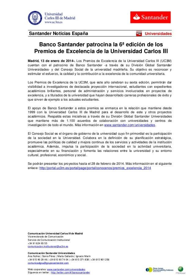Santander Noticias España  Universidades  Banco Santander patrocina la 6ª edición de los Premios de Excelencia de la Unive...