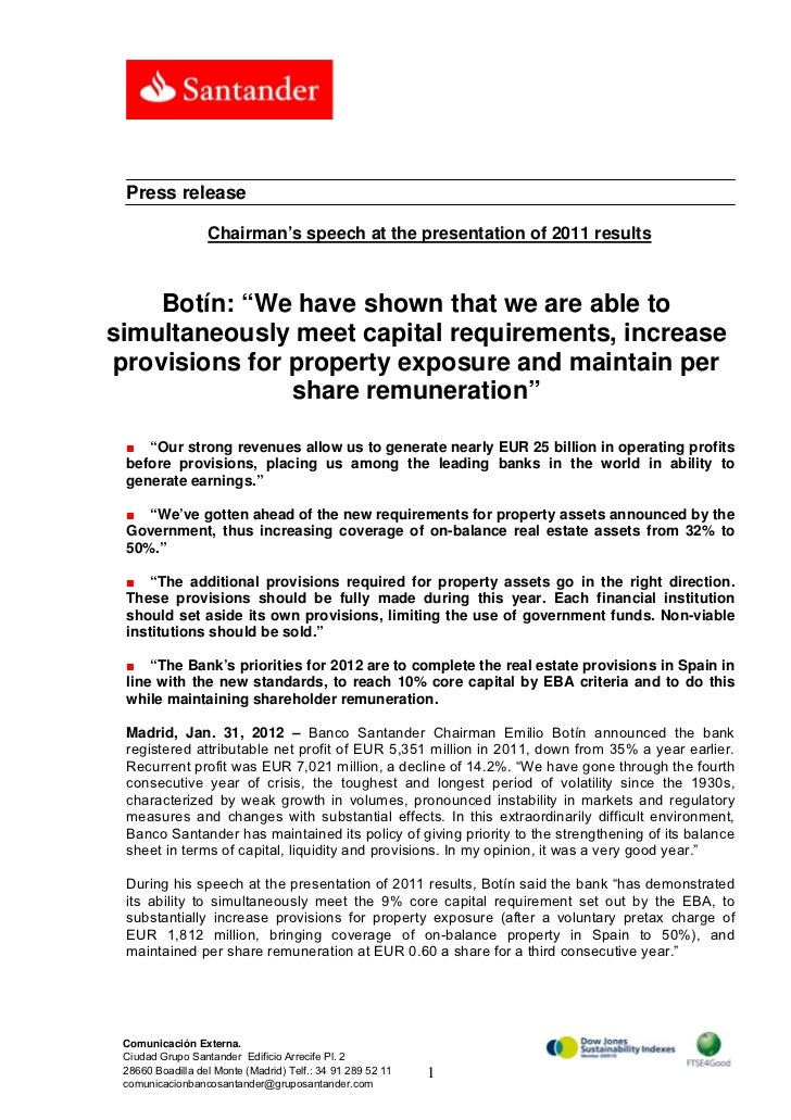 """Press release                  Chairman's speech at the presentation of 2011 results     Botín: """"We have shown that we are..."""
