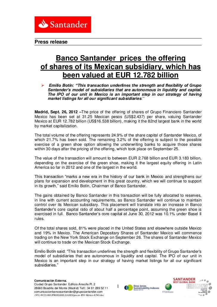 Banco Santander Prices The Offering Of Shares Of Its Mexican Subsid