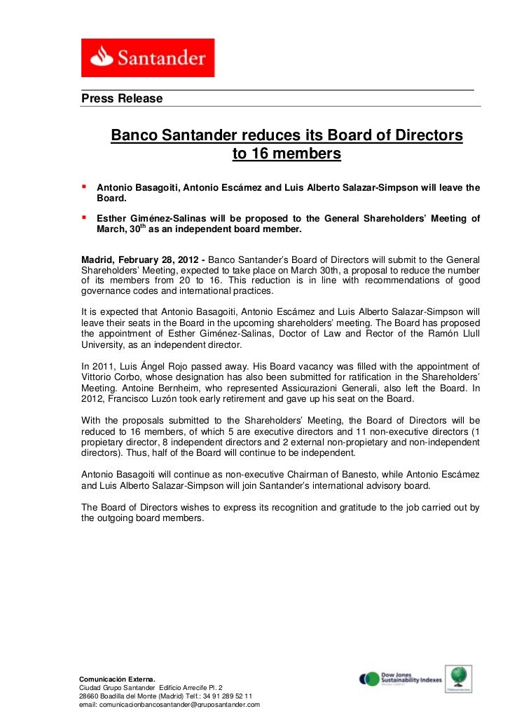 Press Release         Banco Santander reduces its Board of Directors                       to 16 members    Antonio Basag...