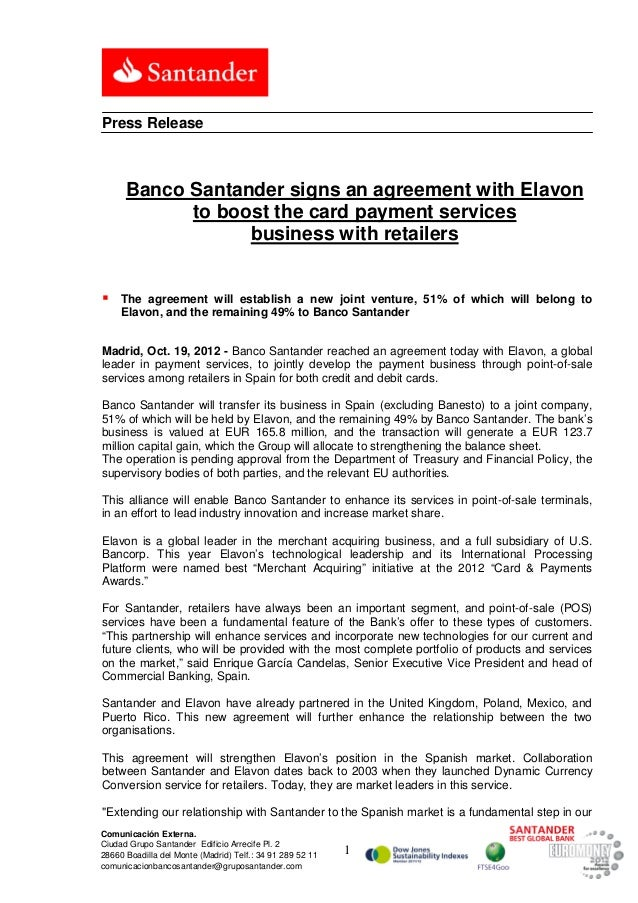Banco Santander signs an agreement with Elavon to boost the card payment services business with retailers