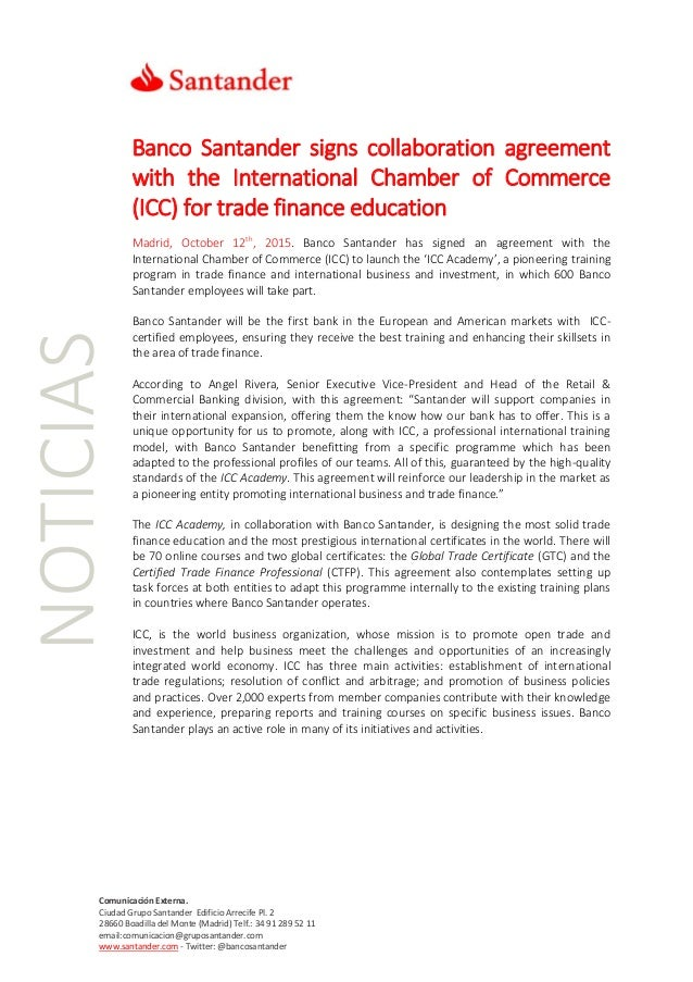 Banco Santander Signs Collaboration Agreement With The International