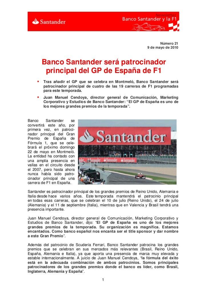 Número 21                                                                     9 de mayo de 2010         Banco Santander se...