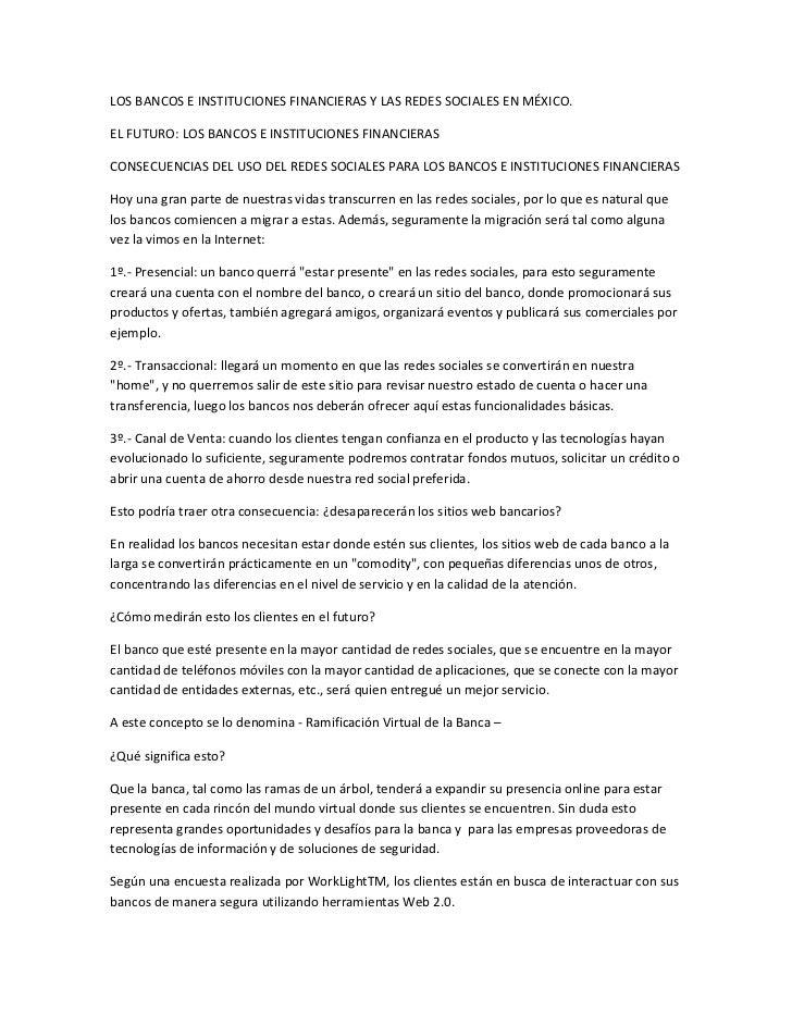 LOS BANCOS E INSTITUCIONES FINANCIERAS Y LAS REDES SOCIALES EN MÉXICO.EL FUTURO: LOS BANCOS E INSTITUCIONES FINANCIERASCON...