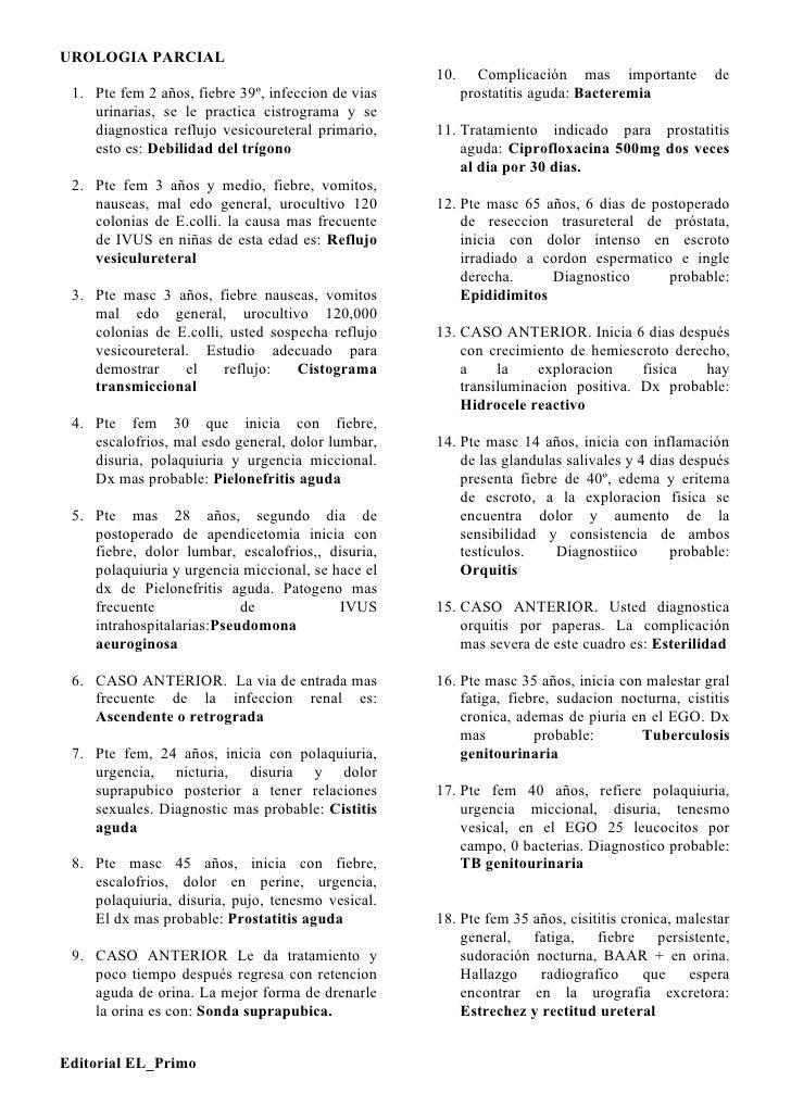 UROLOGIA PARCIAL                                                     10.      Complicación mas importante         de  1. P...