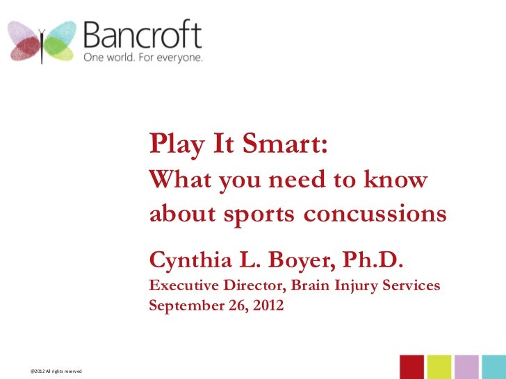 Play It Smart:                            What you need to know                            about sports concussions       ...