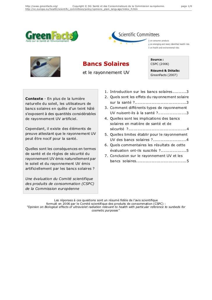 http://www.greenfacts.org/              Copyright © DG Santé et des Consommateurs de la Commission européenne.        page...