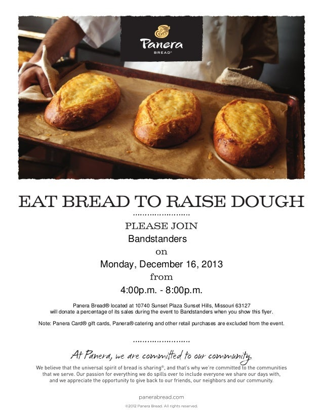 Bandstanders Monday, December 16, 2013 4:00p.m. - 8:00p.m. Panera Bread® located at 10740 Sunset Plaza Sunset Hills, Misso...