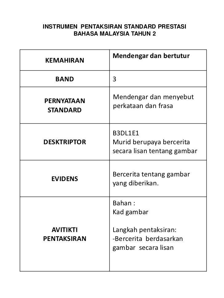 INSTRUMEN PENTAKSIRAN STANDARD PRESTASI        BAHASA MALAYSIA TAHUN 2                  Mendengar dan bertuturKEMAHIRAN   ...