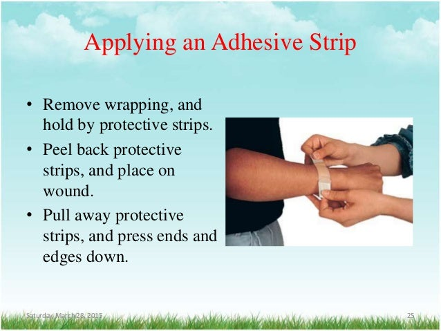 Applying an Adhesive Strip • Remove wrapping, and hold by protective strips. • Peel back protective strips, and place on w...