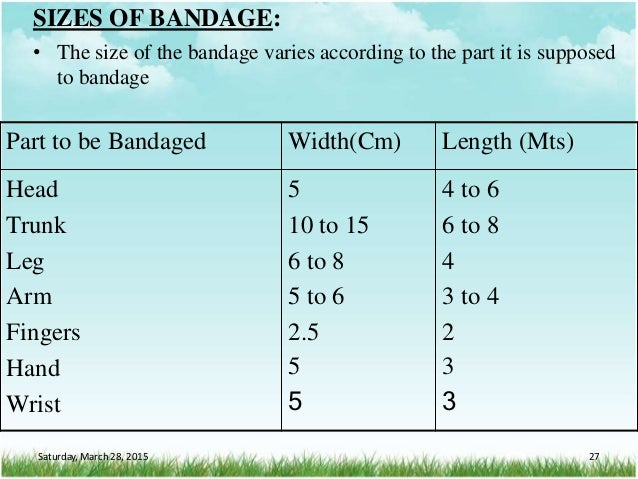 SIZES OF BANDAGE: • The size of the bandage varies according to the part it is supposed to bandage Part to be Bandaged Wid...