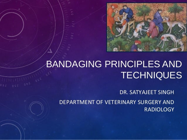 BANDAGING PRINCIPLES AND TECHNIQUES DR. SATYAJEET SINGH DEPARTMENT OF VETERINARY SURGERY AND RADIOLOGY